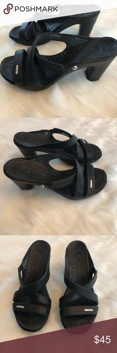"""Women's Crocs Cyprus IV Sandals Heels Black Sz 7w New. Black Women's Crocs Cyprus IV.  The heels are 3.5"""".  Size 7W. CROCS Shoes Sandals"""