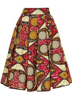 Market Skirt ♥Lena Hoschek printed wax cotton skirt features a softly pleated a-line silhouette with in-seam side pockets.♥Lena Hoschek printed wax cotton skirt features a softly pleated a-line silhouette with in-seam side pockets. African Fashion Skirts, African Fashion Designers, African Inspired Fashion, African Print Fashion, Africa Fashion, Nigerian Fashion, Ghanaian Fashion, Ankara Fashion, African Print Skirt
