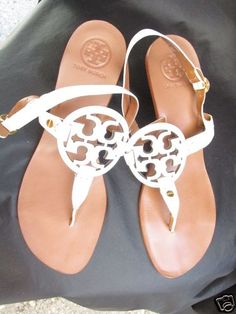 It's about time I got some Tory burch sandals.. Tory Burch Shoes White Patent Leather Kitten Heel Sandals Womens 8 1 2 | eBay