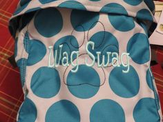 Mini Utility Bin in Teal Mod Dot  Wag Swag - Font Style 19 in Tropical Wave Paw Print Icon - Brown #ThirtyOne