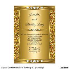 Elegant Glitter Glitz Gold Birthday Party 5x7 Paper Invitation Card