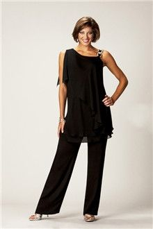 Pant Suits Asymmetrical Ankle-length Chiffon Mother of the Bride Dress