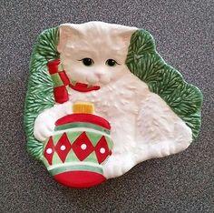 Fitz & Floyd 2008 Yuletide Kitten Snack Plate & Spreader - Christmas Cat