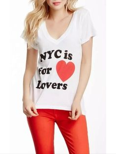 """NWT Wildfox New York """"NYC Is For Lovers"""" Heart Clean White Tee T-shirt Sz Small  