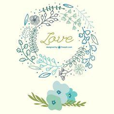 Flores da primavera mão puxado cartão de amor Vetor grátis