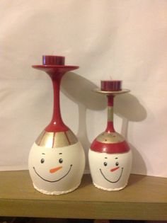Wine glass snowmen... Hand painted by me