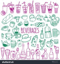 Set Of Various Doodles, Hand Drawn Rough Simple Sketches Of Various Types Of Alcoholic And Non-Alcoholic Drinks. Vector Freehand Illustration Isolated On White Background. - 251881618 : Shutterstock