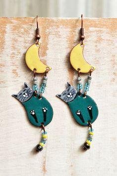 Enamel Earrings, Cat Earrings, Enamel Jewelry, Cat Jewelry, Cat Shaped Earrings, Boho Earrings, Enameled Earrings, Turquoise,