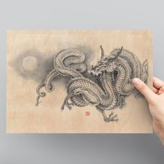 Japanese Dragon Fine Art Print - giclee poster of the original ink painting, signed and stamped Japanese Dragon Tattoos, Japanese Tattoo Art, Japanese Art, Cosplay Steampunk, Dragon Sleeve Tattoos, Japan Tattoo, Samurai Tattoo, Yakuza Tattoo, Ink Painting