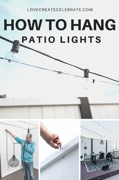 Learn how to hang string lights and chandeliers on your patio, deck, front porch, or pergola! Make your outdoor space… The post How to Hang String Lights [& an outdoor chandelier!] appeared first on Love Create Celebrate. Hanging Patio Lights, Backyard String Lights, Globe String Lights, Outdoor Chandelier, Outdoor Lantern, Pergola Lighting, Outdoor Lighting, String Lighting, Outdoor Decor
