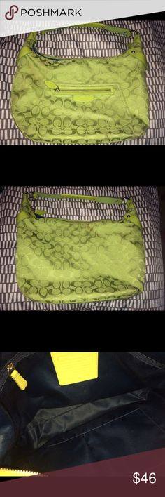 Coach bag- green This is a Coach bag- there are a few spots. I want to clean it but I also do not want to accidentally wreck the thread. Coach Bags Shoulder Bags