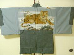 Japanese vintage kimono Men's Haori coat, Tiger, light bluish brown & navy #183 Vintage Kimono, Japanese Kimono, Vintage Japanese, Tigers, Navy, Best Deals, Coat, Brown, Collection
