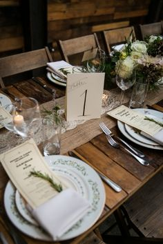 A Rustic Urban Wedding Table with Hand-Calligraphed Table Numbers at Brooklyn Winery in Williamsburg, NY Wedding Table Decorations, Wedding Table Settings, Chic Wedding, Rustic Wedding, 2017 Wedding, Autumn Wedding, Perfect Wedding, Dream Wedding, Wedding Ideas