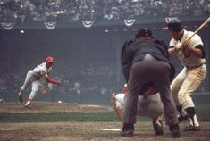 Cardinals Bob Gibson pitches in 1968 World Series vs. the Tigers.  The Tigers prevailed 4-3 in the Series.