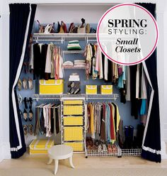 small closet ideas are helpful for the owners of older homes to get the most out of their limited closet space. Small closets do not have to be a burden. Closet Bedroom, Closet Space, Walk In Closet, Closet Curtains, Hidden Closet, Closet Redo, Long Curtains, Hanging Curtains, Master Closet