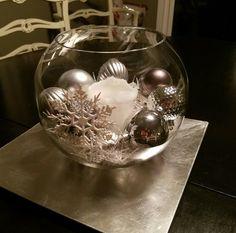 Christmas fish bowl centerpiece