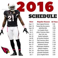 Arizona Cardinals 2016 Season schedule with Patrick Peterson. #BirdGang #AZLadyBirds https://www.facebook.com/AZLadyBirds/ Are you ready for some football? NFL