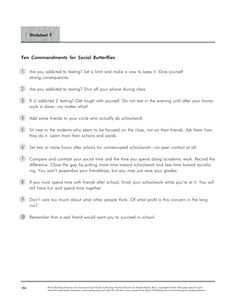 Free printable handout to help students prioritize schoolwork over socializing: 10 Tips for the Social Butterfly from Teaching Smarter: An Unconventional Guide to Boosting Student Success
