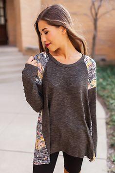 Olive/Floral Detail Long Sleeve Top - Dottie Couture Boutique