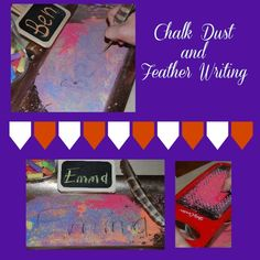 Chalk Dust and Feather Writing for Preschool