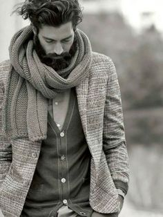 Beard cardigan winter Style fashion streetstyle men scarf