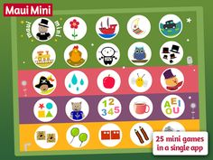 Maui Mini Games contains 25 mini games in a single app designed for children 2 - 3 - 4 - 5 year-old