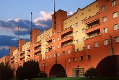 Vienna's Karl Marx Hof: This mid-rise block of flats looked like a fortress years before it actually became a besieged holdout against the fascists in the Austrian civil war of 1934 Social Housing Architecture, Modern Architecture, Karl Marx, World Cities, The Guardian, Vienna, Budapest, Politics, Buildings