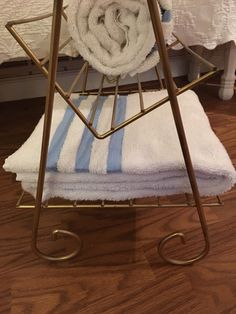 A personal favorite from my Etsy shop https://www.etsy.com/listing/237090543/standing-towel-rack-gold-rack-vintage-3