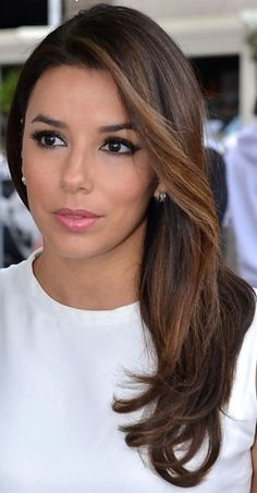 Eva Longoria Long Side Part - Eva Longoria Hair - StyleBistro