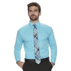 Men's Marc Anthony Slim-Fit Non-Iron Stretch Dress Shirt, Size: 17.5-32/33, Turquoise/Blue (Turq/Aqua)