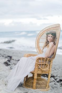Chair from Urban Vintage and Bridal Beauty by Agape Airbrush Makeup and Hair @ Coastal Winter Wedding by Karla Korn Photography, Botanical Bliss, and Rockstar Catering + Event Co.