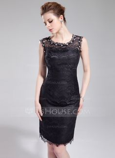 Cocktail Dresses - $132.29 - Sheath Scoop Neck Knee-Length Charmeuse Lace Cocktail Dress With Beading (016019694) http://jjshouse.com/Sheath-Scoop-Neck-Knee-Length-Charmeuse-Lace-Cocktail-Dress-With-Beading-016019694-g19694?ver=xdegc7h0