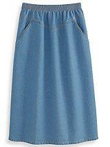 Lady Blair® V-Yoke Denim Skirt | Blair