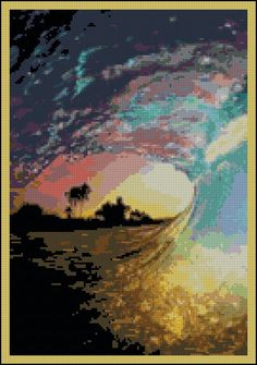 Hawaii Wave - Counted Needle Point and Cross Stitch Chart Patterns - Needle Point Pillow. $9.99, via Etsy.
