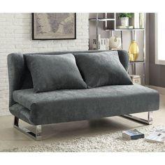 Coaster Contemporary Sofa Bed Grey Velvet Fabric Gray