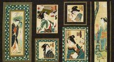 Traditions 9 Geisha Parchment Asian Robert Kaufman Fabric Panel |