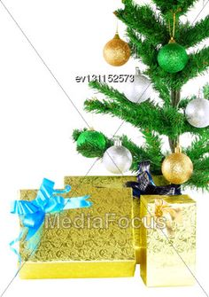 Fragment Of #Christmas Tree With Gift Boxes. Isolated Over White Background #StockPhoto