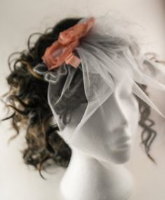 Wedding tulle birdcage veil white peach and by AnitaHiltonweddings, £20.00