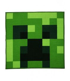 This large Minecraft Creeper Square Rug features a close up image of a menacing green and black Creeper face. Free UK delivery available Video Game Bedroom, Black Creepers, Minecraft Room, Minecraft Crafts, Minecraft Decorations, Square Rugs, Kids On The Block, Bedroom Themes, Accent Rugs