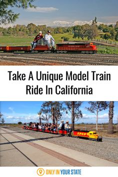 Take a scenic, unique train ride on this massive model train in California. Enjoy beautiful views while having some family-friendly fun. Central California, Southern California, Amazing Adventures, New Adventures, Fairview Park, Best Bucket List, Famous Beaches, Train Rides, Model Trains