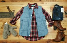 This denim puffer vest looks great over plaid tops!