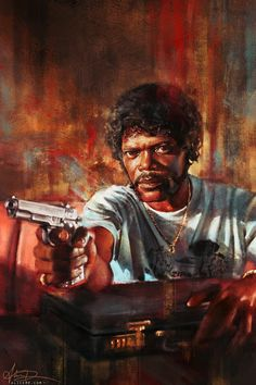 "Film inspired paintings by Alice X. Zhang.  The truth is… you're the weak, and I'm the tyranny of evil men. But I'm trying, Ringo. I'm trying real hard to be the shepherd."" – Pulp Fiction (1994)"