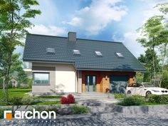 Dom w orszelinach Home Fashion, Planer, Bungalow, Gazebo, House Plans, Garage Doors, Outdoor Structures, House Design, House Styles