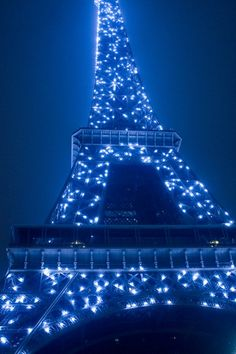 Night Blue Tower In Paris. Such lightings only happen very rarely. Often, blue lights are not seen on the Eiffel Tower.