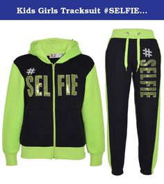 Kids Girls Tracksuit #SELFIE Print Hoodie & Bottom Jog Suit New Age 7-13 Years (7-8 Years, Black & Neon Green). Shop With Confidence Simple Returns 30 Days Returns/Exchanges Accepted ? All Orders Dispatched Within 24 HOURS ? HERE IS NEW GIRLS #SELFIE PRINT TRACKSUITS. Available Size; 7-8, 9-10, 11-12, 13 Years. Soft Fleece Fabric. Ribbed Cuffs On Legs And Sleeves. Elasticated Waist With Double Draw Strings. Bottom Has A cute Pocket On back. Available Colour; Grey & Neon Pink, Purple…