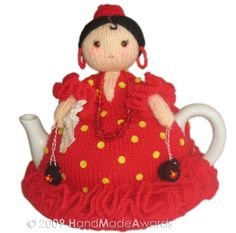 NOTE: You will receive the PATTERN to make your own toy NOT the finished toy! What a lovely tea cosy! What a beautiful Spanish Ballerina Doll! Doll tall 6.69 inches-17 cm Max teapot contour 15.75 inches-40 cm The adorable Olé Olé doll wears a cutest knitted red dress with lovely