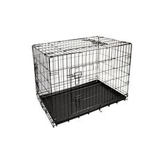 ALEKO 3 Door Dog Cat Crate Cage Kennel with Abs Tray and Divider, 36″L