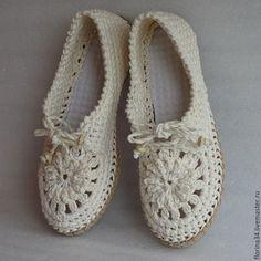 Обувь ручной работы. Заказать Мокасины  вязаные Lady G, лен, р.37-38. Елена Гончарова  Вязаная обувь. Ярмарка Мастеров.