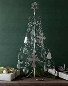 janice minor tree and ornament set wrought iron tree holds 32 ornaments on its scrolled - Iron Christmas Tree