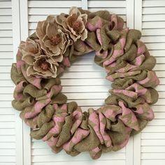 "Spring Wreath, Large Pink Burlap Wreath, Wreath for All Year, 22"" Burlap Wreath, Chevron Wreath"